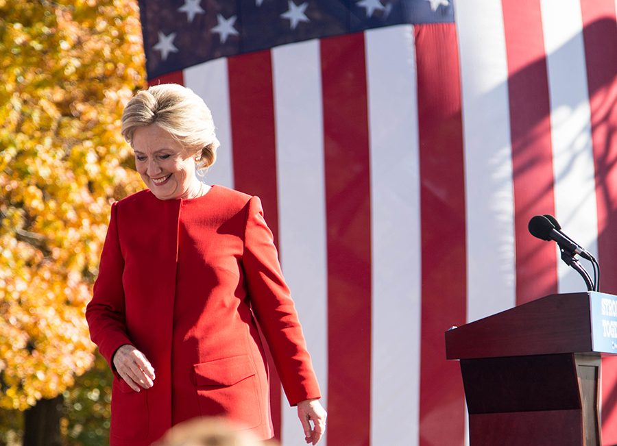 Presidential hopeful Hillary Clinton campaigned at the University of Pitt Monday afternoon, less than a day before Election Day 2016.