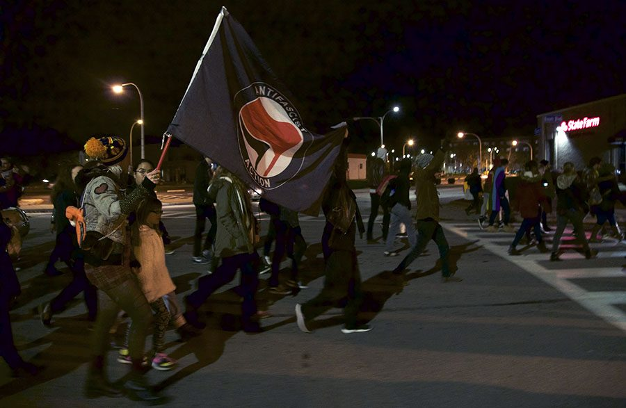 Anti-Trump protesters take to the streets in East Liberty, peacefully protesting the election results, Wednesday Nov. 9.