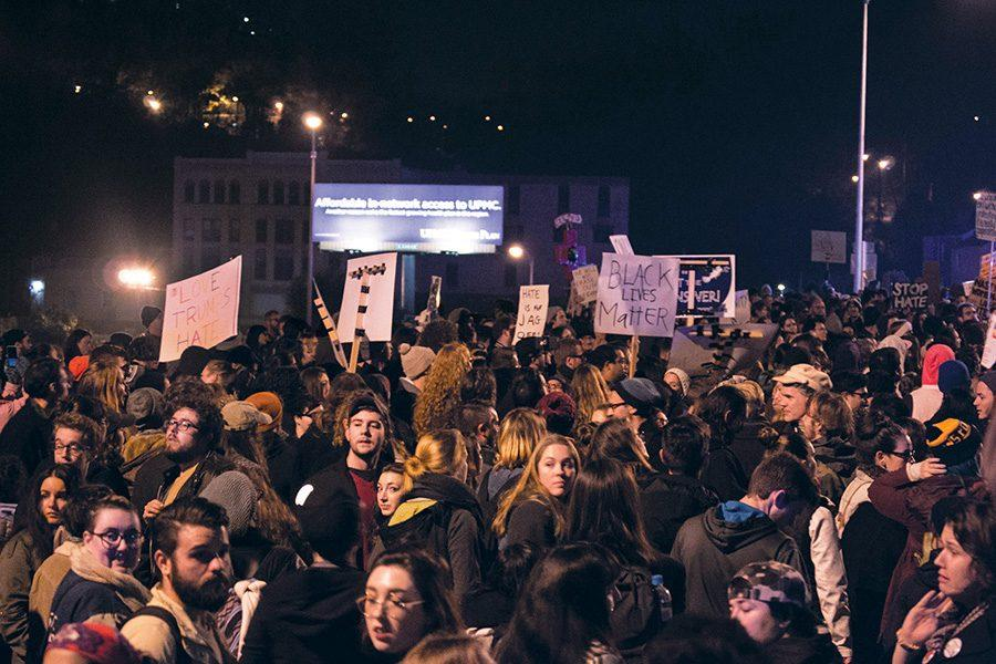 November+16%2C+2016+hundreds+of+students+gather+in+the+streets+to+peacfully+protest+Donald+Trump.