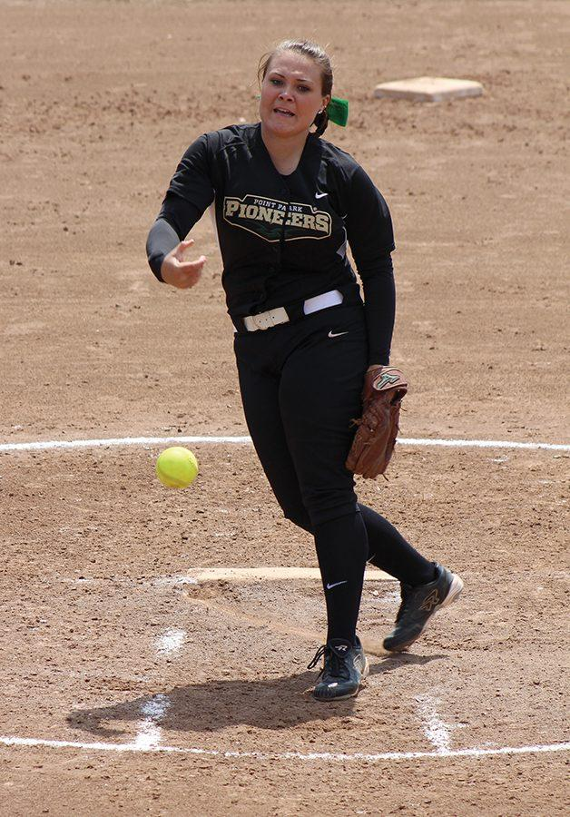 Sophomore pitcher Ashley Iagnemma delivers a pitch during her freshman year. The 2016 KIAC Newcomer of the Year has started her second year 3-2 with a 2.84 ERA and 44 strikeouts.