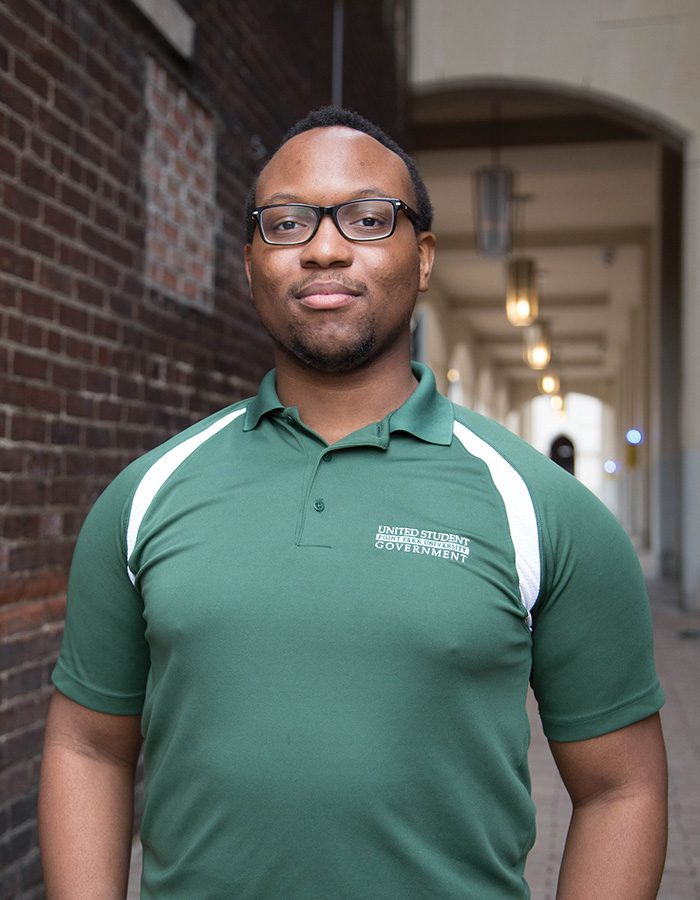 Davion Heron is a junior musical theatre major who has served on USG for four years as a senator, recording secretary and vice president.