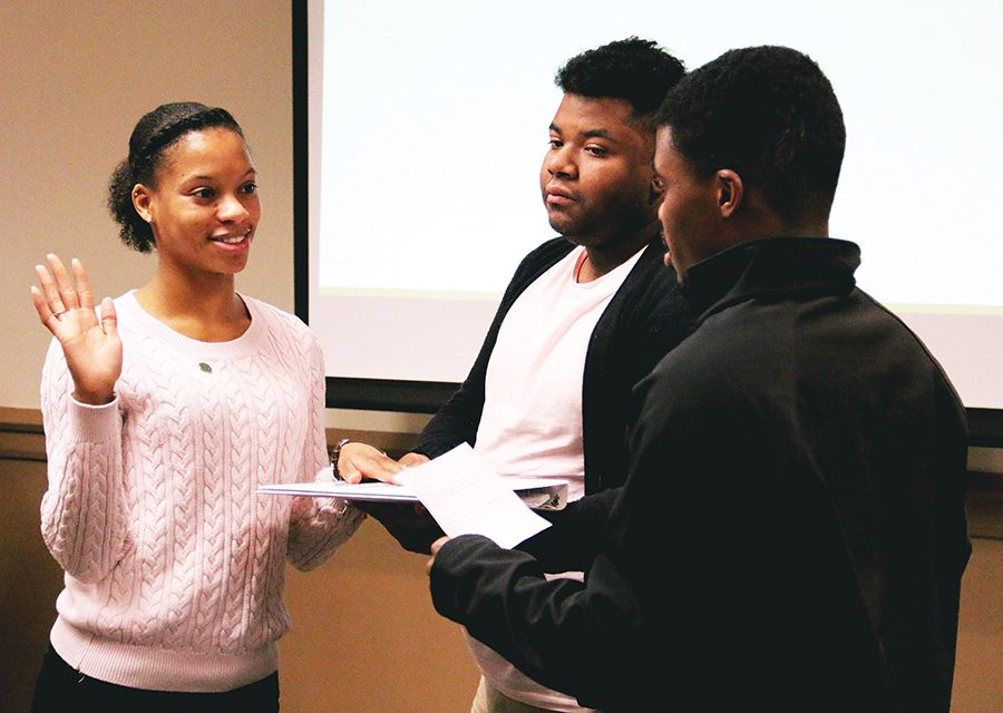 Senior business management major and former USG treasurer Amber Mole is sworn in as USG's interim treasurer for the remainder of the 2016-17 year March 6.