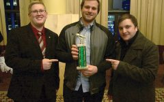 Alexander Popichak, Vinnie Ferrainola and Brandon Cross pose with their trophy for best celebrity  interview at the Intercollegiate Broadcast System Awards in New York City Saturday, March 4.
