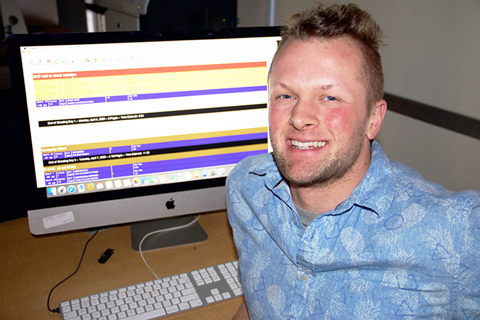 Daymon Long, junior cinema production major, produces videos with the help of Movie Magic, a comprehensive movie scheduling software program that assists in scheduling movies and productions.