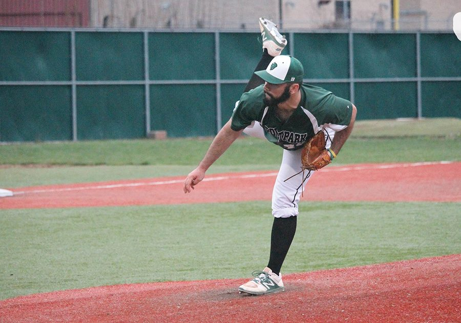 Nick Beardsley delivers a pitch early in his no-hitter Saturday against Ohio Christian University in a 16-0 victory.