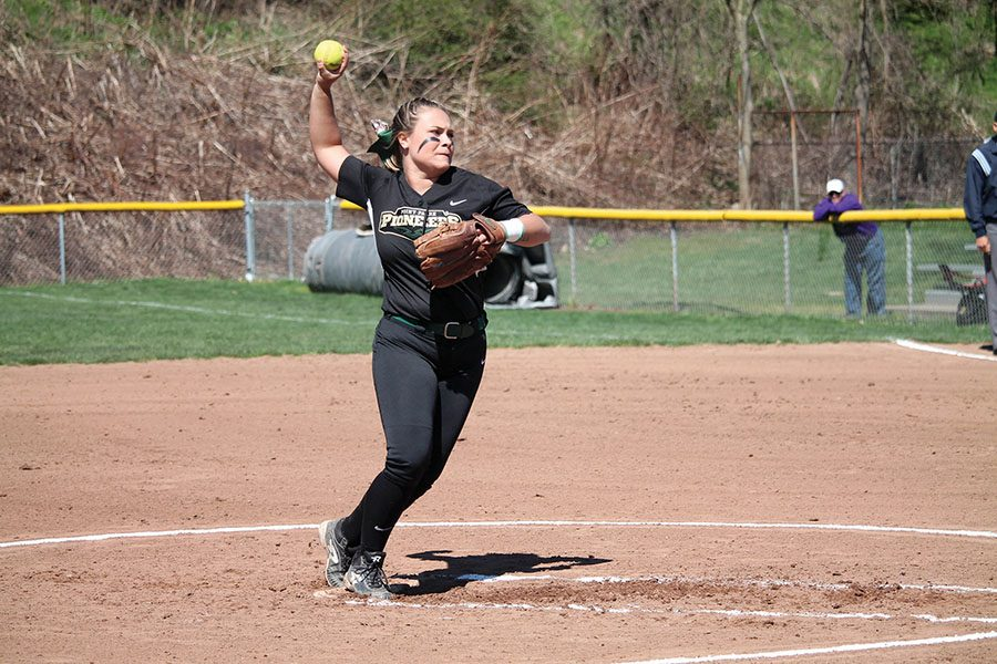 Sophomore Ashley Iagnemma winds up to deliver a pitch against Cincinnati Christian Saturday in her no-hitter. The Pioneers won 6-0.