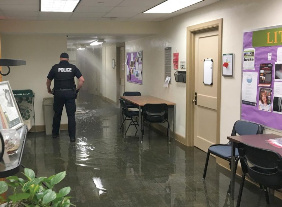 A hot water pipe connection burst in Lawrence Hall around 11 p.m. Thursday. Floors 6 and 7 were off limits overnight and a restoration firm placed dehumidifiers on affected floors. The seventh floor hosts faculty offices and the Globe.