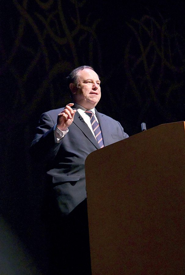 Chris Ruddy, also known as the Trump Whisperer, visited the Pittsburgh Playhouse on Wednesday as part of Point Parks Talk Back Series.