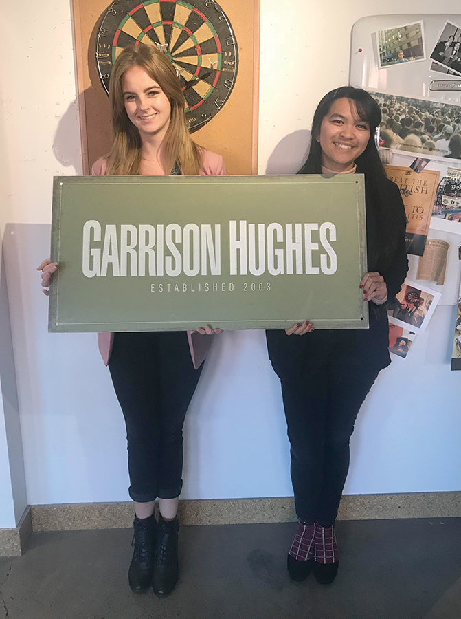 Junior public relations and advertising major Kayla Belovich and senior public relations and advertising major Kristina Pacifico visit advertising firm Garrison Hughes for the Pitch competition.