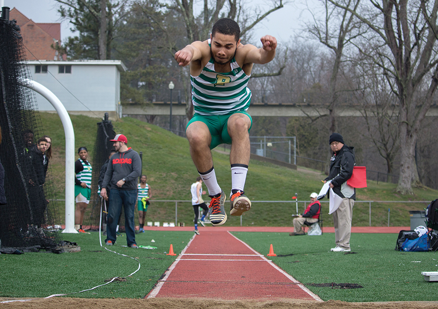 Senior Jryi Davis competes in the triple jump last season at the Muskingum Muskie Duals on Mar. 18. He will return to nationals for the fourth time.