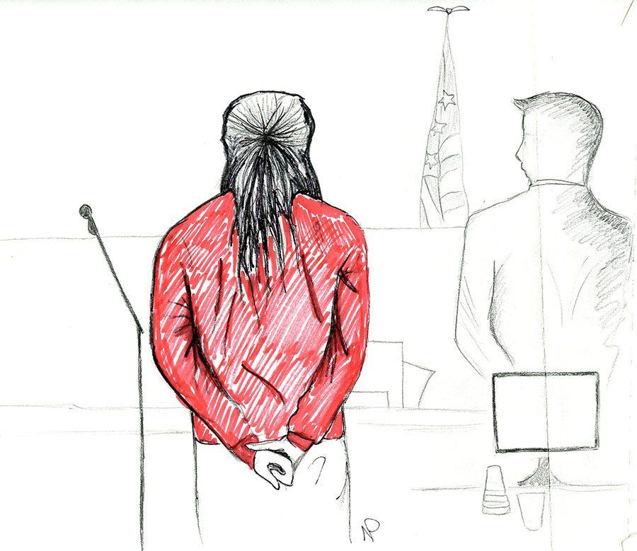 Sketch of Banks standing before Judge Jill E. Rangos Thursday morning