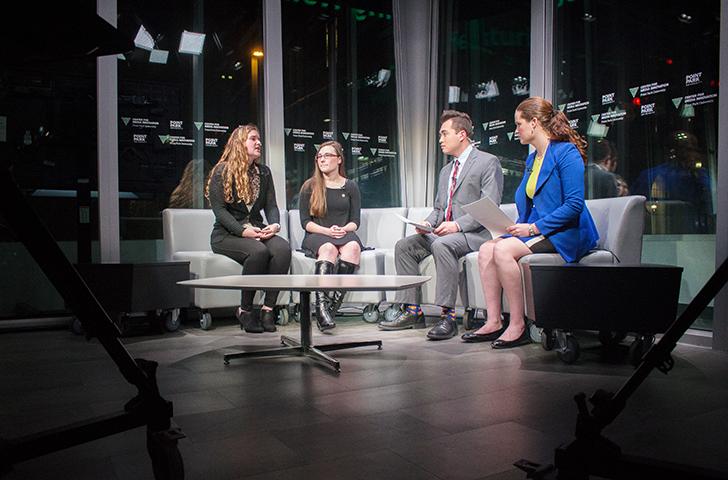USG Presidential candidates Hayley Hoffman and Kaylee Kearns debate at the CMI last Wednesday.
