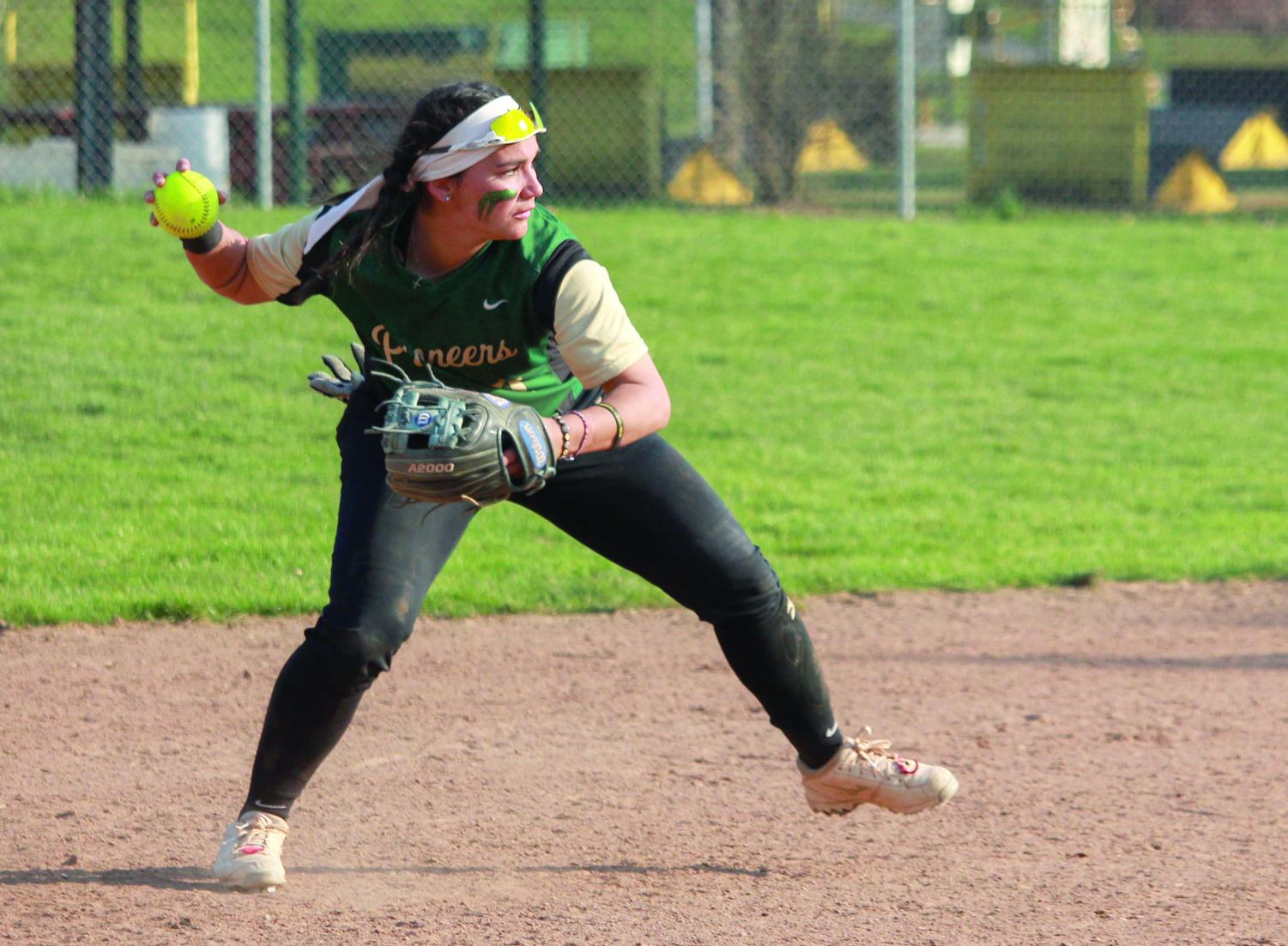 Senior infielder Lily Pruneda dives for the ball during the first game against Carlow on Saturday. Pruneda appeared at bat four times during the double header and registered two sacrifice hits. Point Park is 1-1 in RSC play.