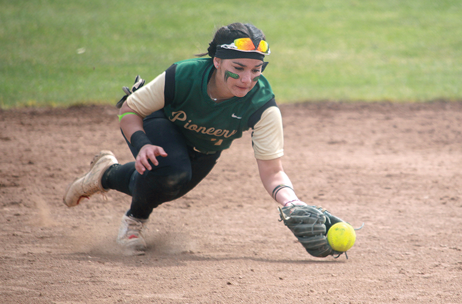 Senior infielder Lily Pruneda dives for the ball during the first against Carlow on Saturday. Pruneda appeared at bat four times during the double header and registered two sacrifice hits. Point Park is 1-1 in RSC play.