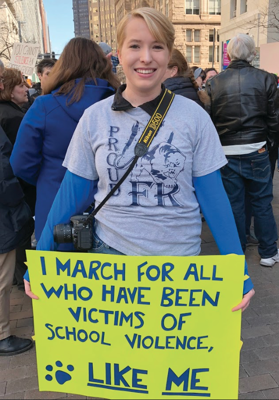 Evans+%28pictured%29+attended+the+march+with+a+hand-made+sign+showing+her+support+for+ending+school+violence.+