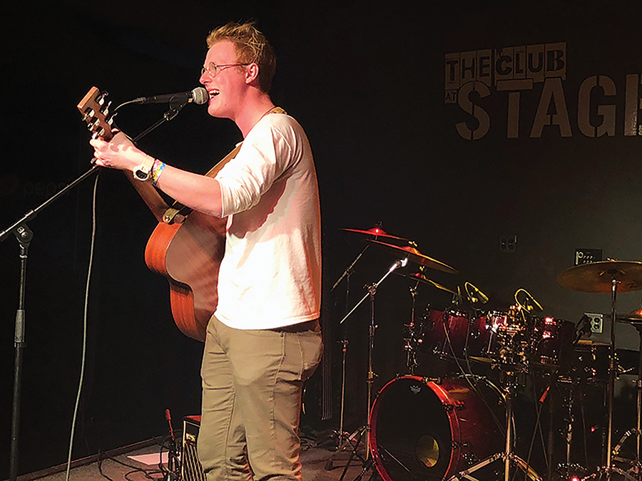 Gabe Reed performing at the Club at Stage AE last Thursday during his EP/music video release show. Reed won this year's Pioneer Star competition held by Point Park's Pioneer Records.