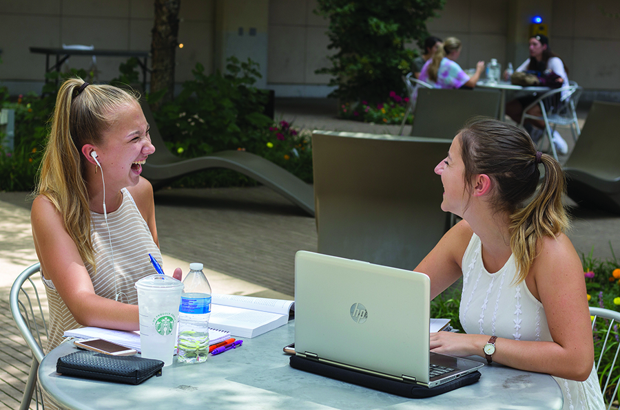 Kayla McDonald and Laura D'Alessandris work on homework in Village Park. Most students love to socialize and catch up on classwork in Village Park when it's warm out. Pittsburgh has seen record-high temperatures this summer.