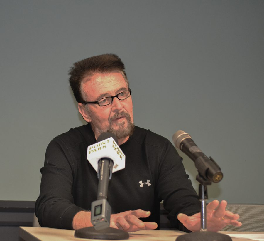 Bob Rager addresses media during the 2016-2017 Point Park media day. Rager retired with the most all time wins as a head basketball coach  in the city of Pittsburgh with 381.