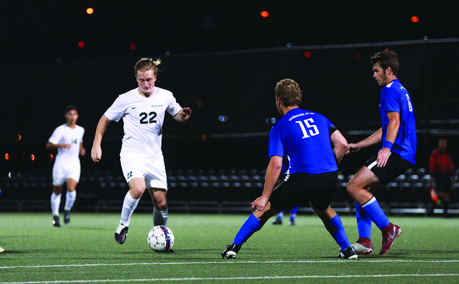 Sophomore midfielder Kay In't Ven carries the ball during Thursday's win against Ohio Christan University. The men's team is now 2-2-1 in conference play and face Carlow Thursday night at Highmark Stadium.