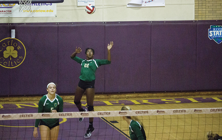 Senior middle Destiny Tucker makes a serve in last year's road matchup against Carlow University. Last weekend, the team took two conference wins against Ohio Christian University and Indiana University East. The team will look to extend their new win streak the weekend with three home games in the Student Center Gym.