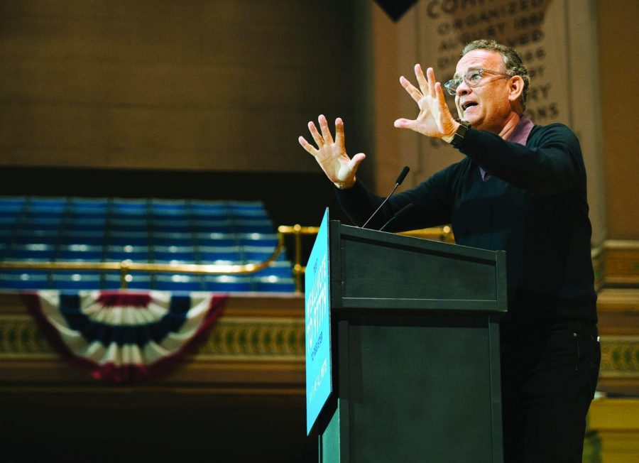 """Actor and filmmaker Tom Hanks speaks at the """"When We All Vote"""" rally in Oakland. The event took place Tuesday, Sept. 25 at Soldiers and Sailors Memorial Hall and Museum. Hanks stressed the importance of voting in every election and among younger generations."""