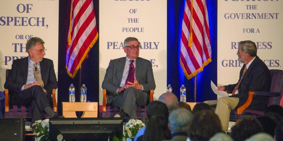 """Washington Post Executive Editor Martin """"Marty"""" Baron speaks on a panel at the First Amendment conference at Duquesene."""
