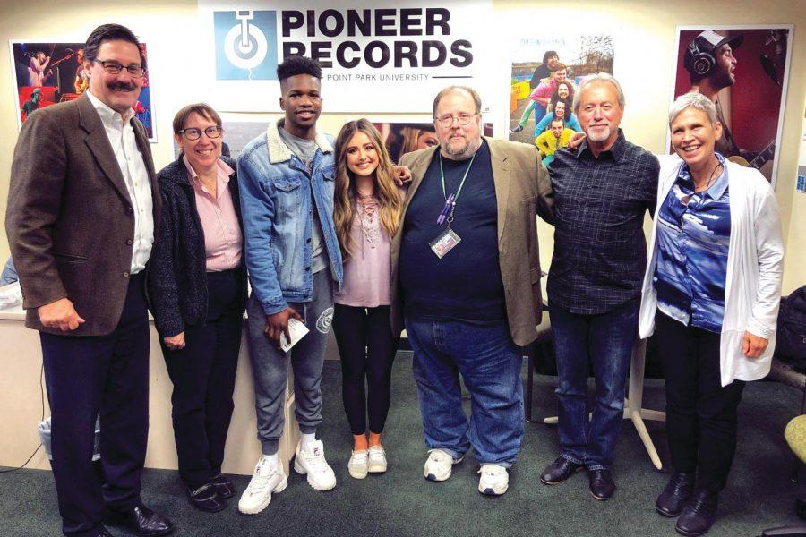 SAEM faculty with Pioneer Stars Allissa Logsdon and Victor Geriseb.
