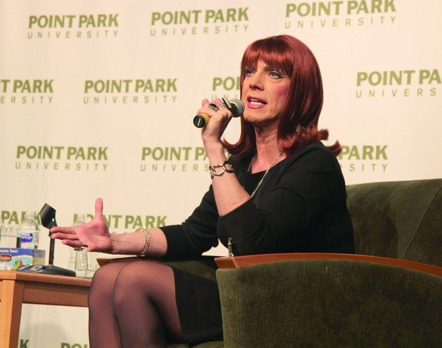 "Coco Peru talks to students in on Thursday, Nov. 8. at SAEM Club's ""A Conversation with Miss Coco Peru."""