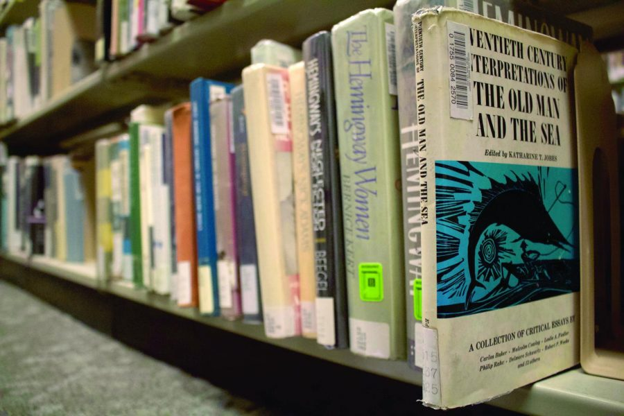 Stacks of Hemingway novels, collections and criticism sit in the basement of the University Center. Hemingway was one of the most celebrated writers in American literature, winning a Nobel Prize and Pulitzer Prize before his 1961 suicide in Ketchum, Idaho.