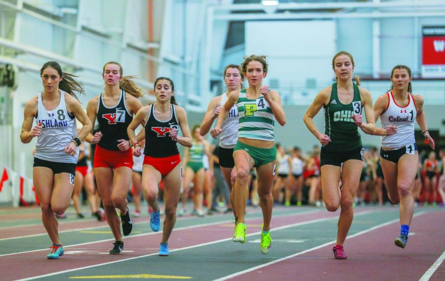 Senior Anna Shields competes at Youngstown last weekend running in the 800 meter event. Shields set a facility record Saturday and is ranked No. 1 in the NAIA and No. 4 in all of collegiate indoor track in the event.