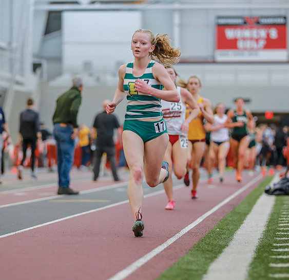 Freshman Alyssa Campbell competes at the Youngstown College Invitational. Last weekend, Campbell qualified for nationals in the 3,000 meter event.