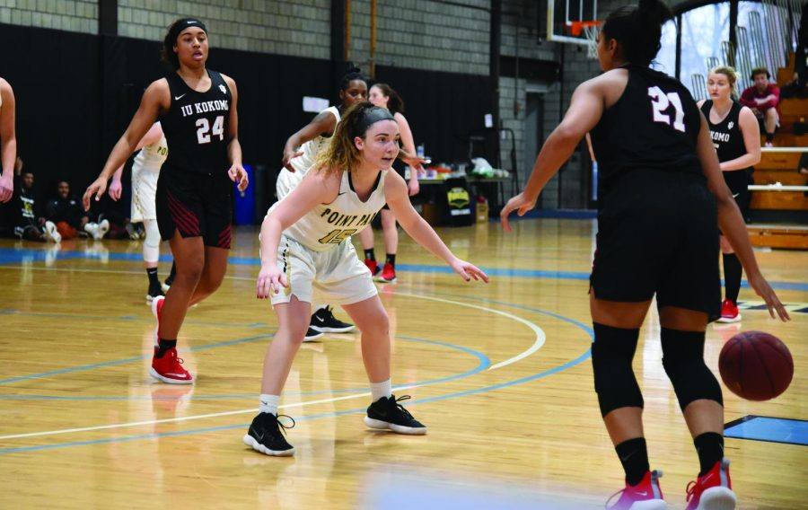 Sophomore guard Michelle Burns guarding the zone in  a game against Indiana University Southeast earlier this season. Last Thursday, Burns posted a career-high 31 points against Brescia University and shot a perfect 7-7 from beyond the three point line while doing so.
