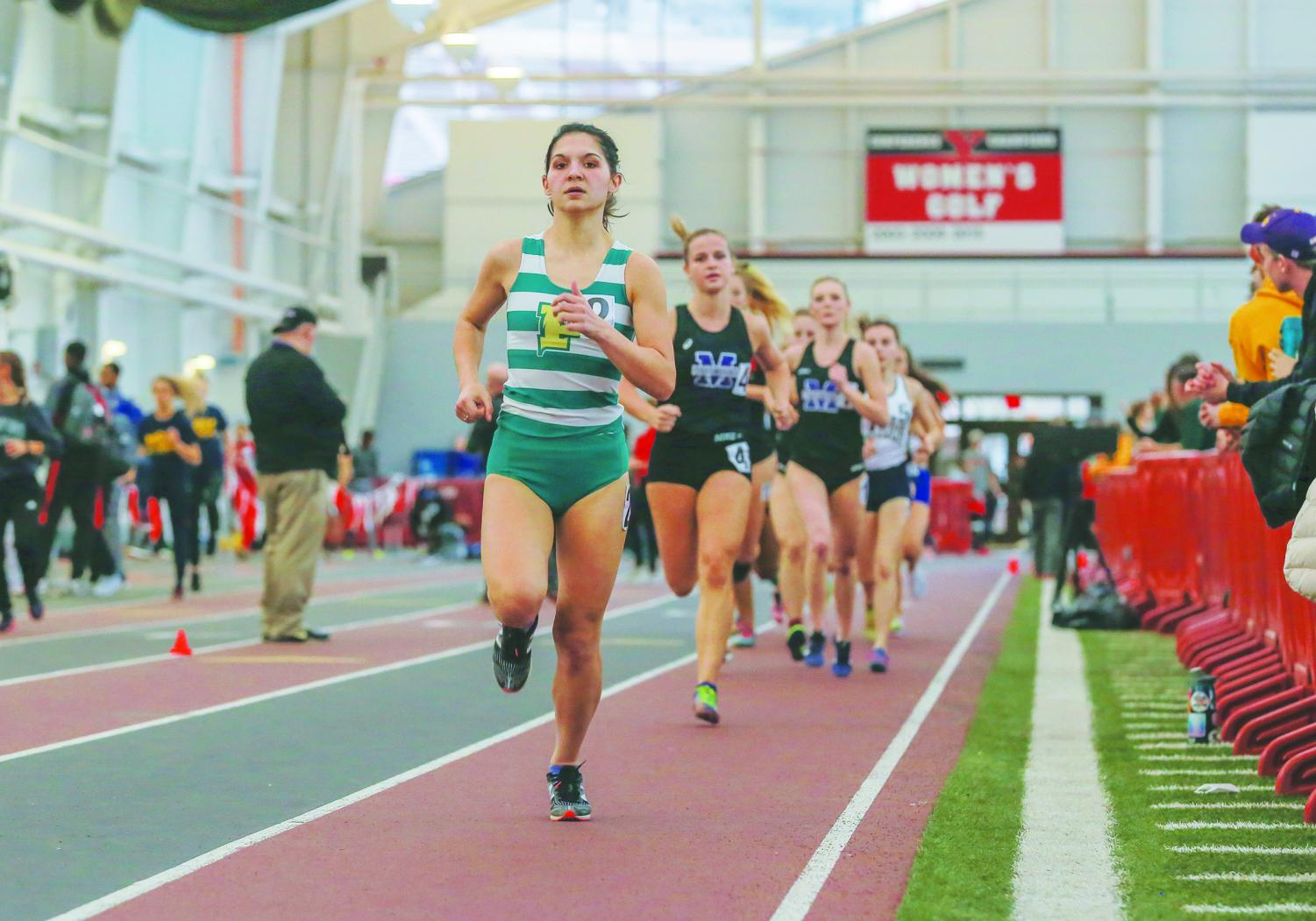 Sophomore Alyssa Boyd competes at the Youngstown Invitational last month. Last weekend, Boyd qualified for nationals in the distance medley relay alongside freshmen Alyssa Campbell and Nia Boyd and Senior Anna Shields.