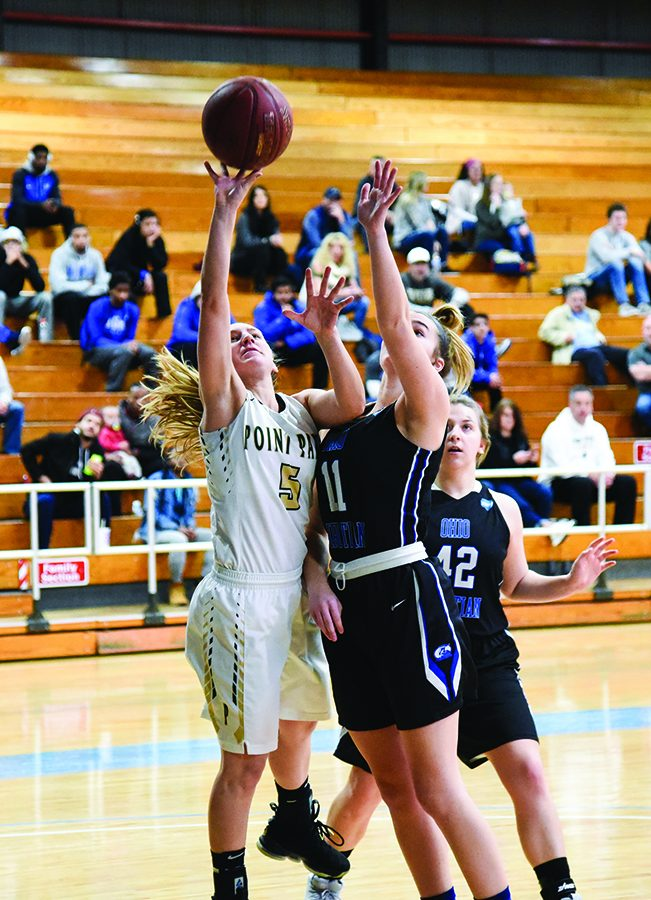 Junior guard Baylie Mook attempts a layup against Alice Lloyd last month. Mook has put up double-digit point totals in the past three games.