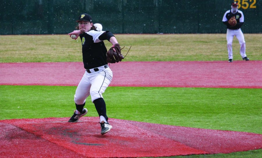 Sophomore pitcher Ryan Huber delivers a pitch during a 2017 home game. Huber was the winning pitcher in the second game of a doubleheader the Pioneers played Saturday against Rio Grand. Point Park won the game  16-5.