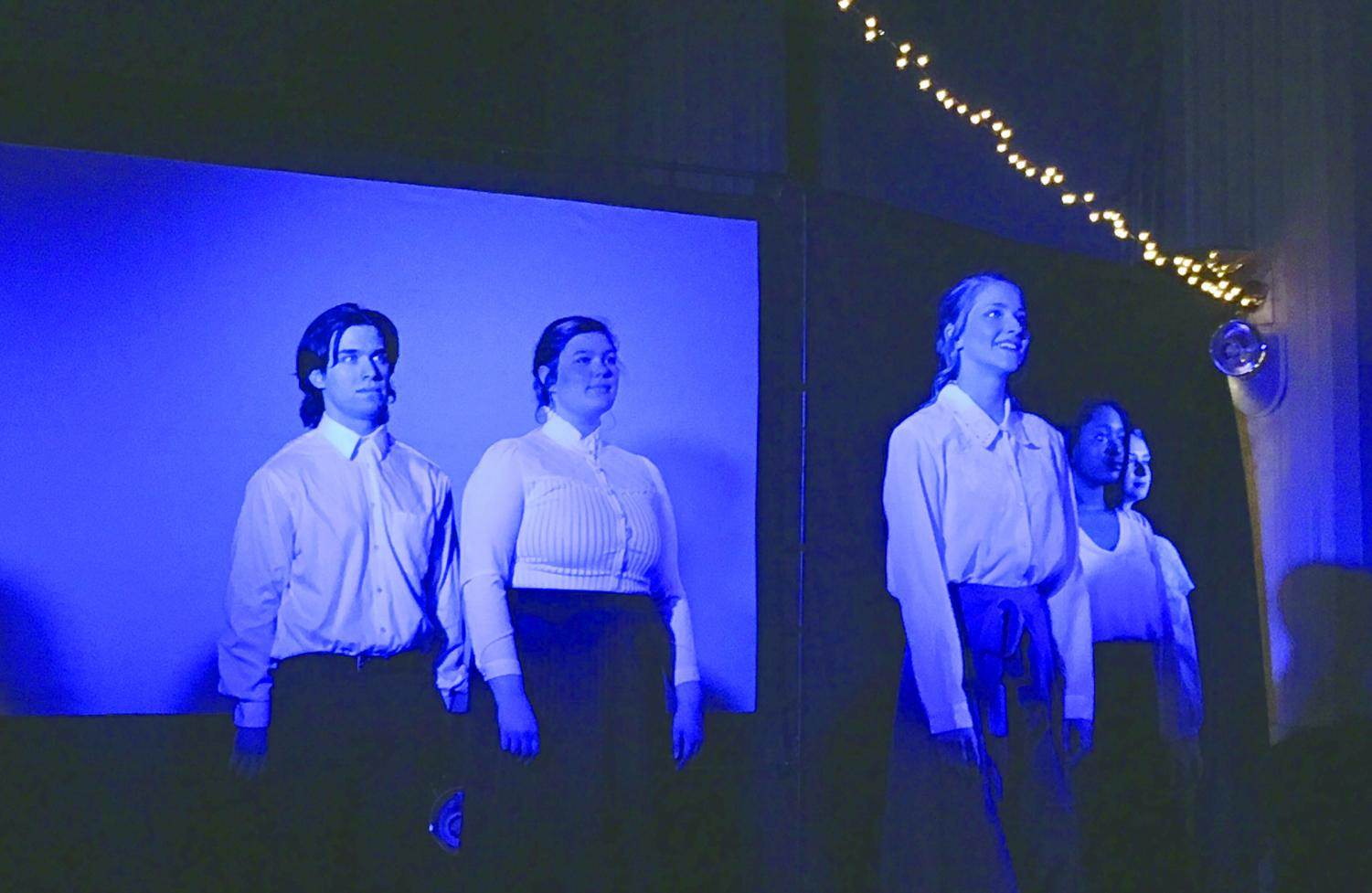 """The cast of Pinnacle Productions'  """"Silent Sky""""  stand and face the audience during the last scene of the show."""