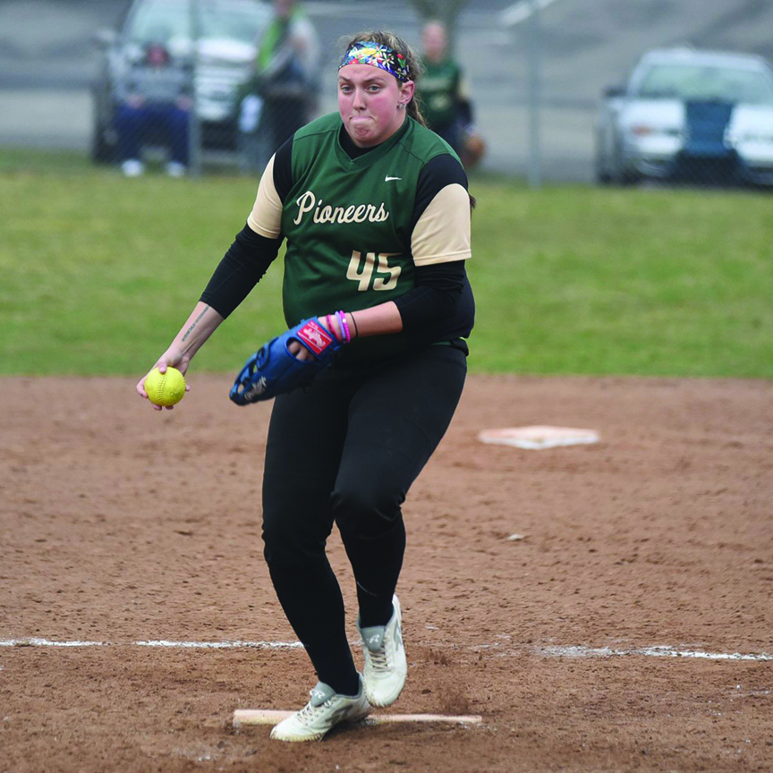 Junior Katie Tarr delivers a pitch last weekend against Cincinnati Christian University. She picked up a career-high 15 strikeouts in the contest.