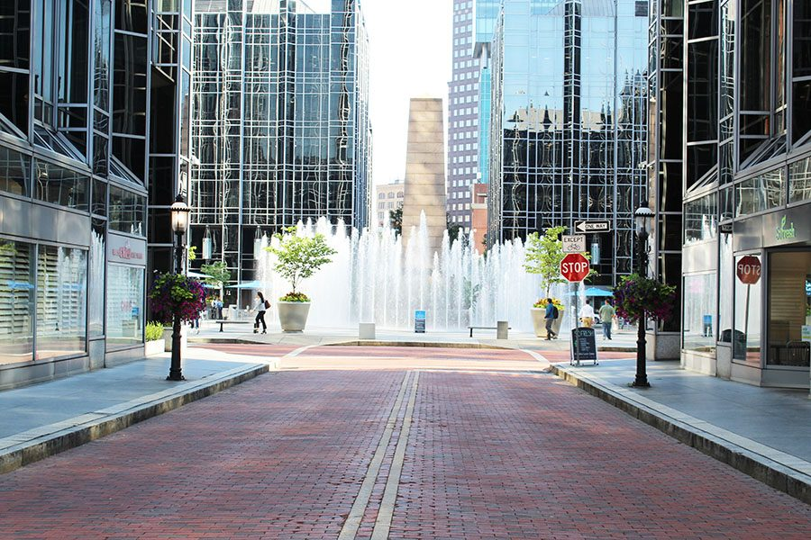 PPG Place highlights its dancing water feature in the summer months before the MassMutual Ice Rink takes over in November. The rink will open on Nov. 22, this year on Pittsburgh's annual Light Up Night.