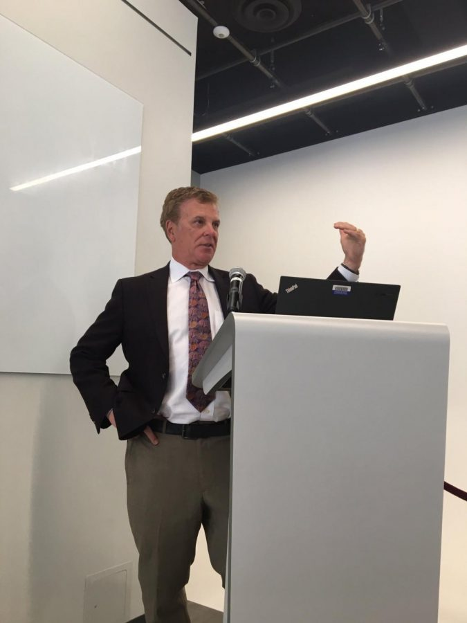 Cleveland Cavaliers play-by-play announcer Fred McLeod speaks to students at an event in 2016. McLeod passed away suddenly last Monday.