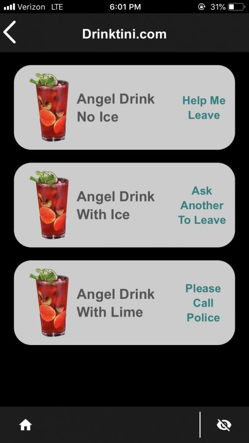 """An example of one of the options uSafeUS provides for students who need to leave a potentially dangerous situation. """"Angel Drink"""" allows someone to discreetly communicate with a bartender."""