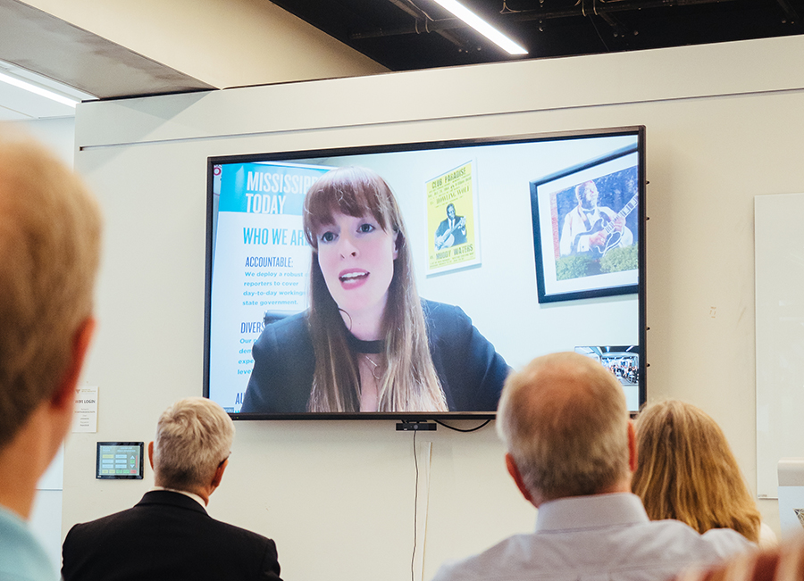 Erica Hensley of Mississippi Today, the inaugural winner of the $20,000 Doris O'Donnell Innovations in Investigative Journalism Fellowship, spoke via video chat to those in attendance at a news conference in the Center for Media Innovation on Tuesday, Sept. 10. Hensley was one of six finalists in the fellowship's first year, and she will be working with the university throughout the duration of her project.
