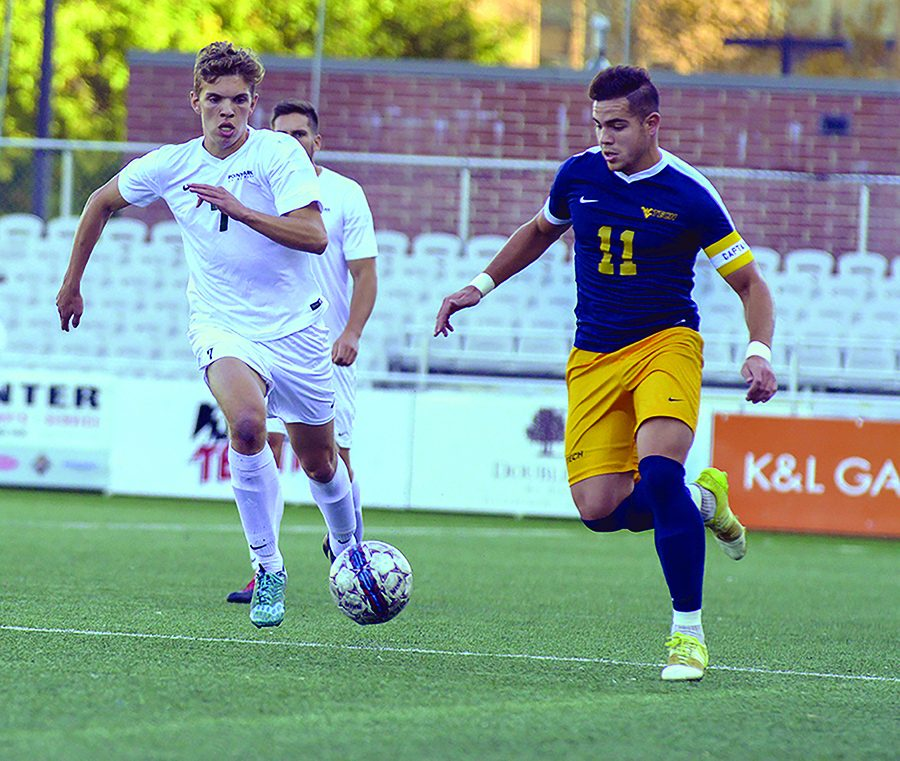Senior Wessel Rietveld chases the ball in a game against WVU Tech last season at Highmark Stadium. Rietveld, who was out most of the season last year due to an injury, scored two goals in his  rst game back with the team.