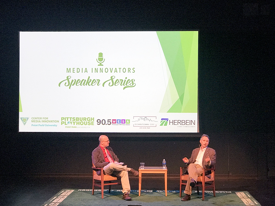 Quil Lawrence speaks on the Playhouse stage as a part of the ongoing Media Innovator Speaker Series.