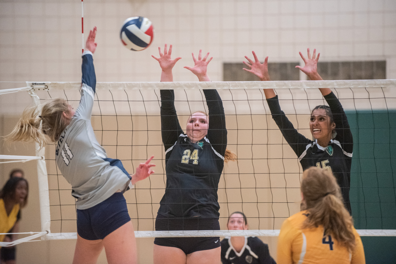 Freshman Taylor Small (left) and junior Jazlyn Rozier (right) go up for a block against a West Virginia Tech attacker last week. The Pioneers went 1-3 and 0-2 in RSC play to finish up this past week.
