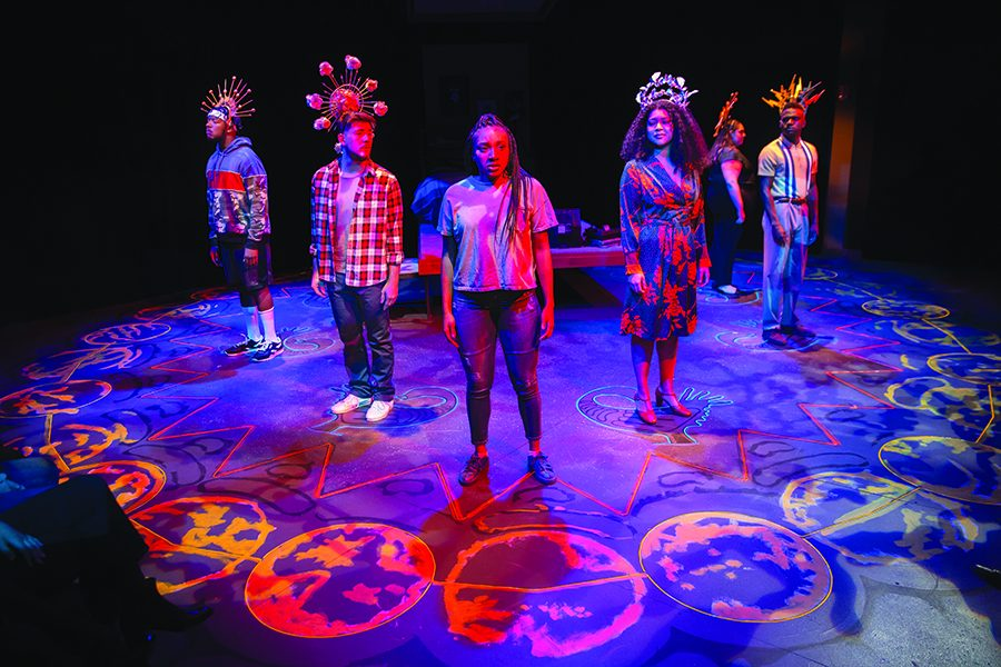 """The cast of """"Good Grief"""" on stage in the Pittsburgh Playhouse for the opening scene. The cast in alphabetical order by last name: Ivan Bracy Jr., Elise Dorsey, Alex Fetzko, Tim Judah, Mia Sterbini and Pierre Mballa."""