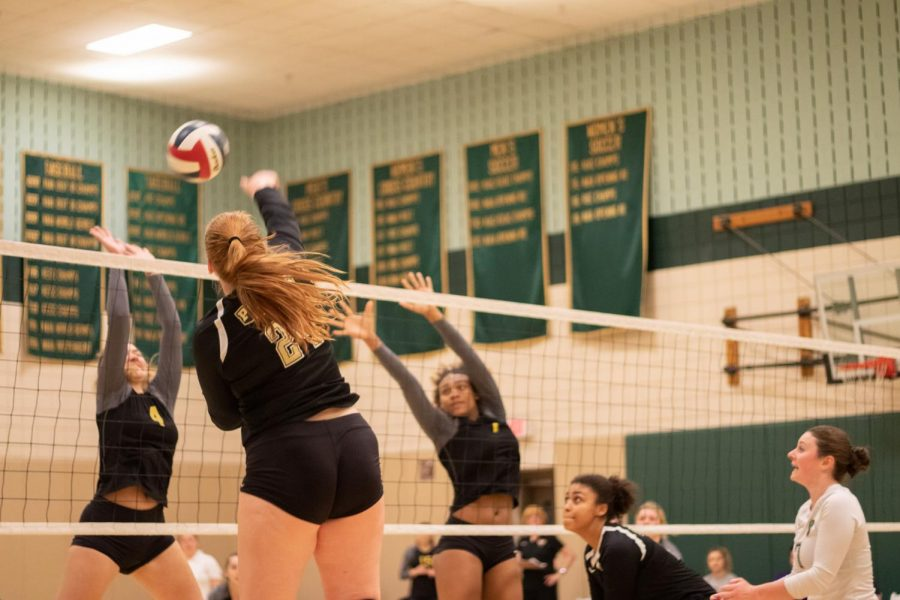 Freshman+outside+hitter+Taylor+Small+goes+up+for+a+kill+against+Carlow+in+the+student+center+gym+last+Tuesday.