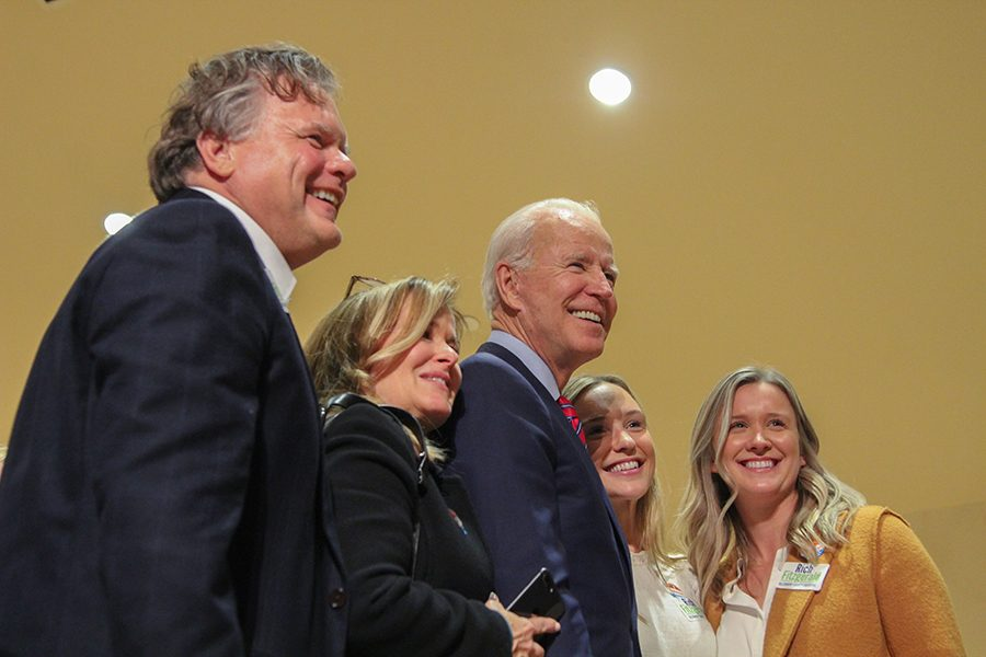 Former Vice President Joe Biden (middle) poses for a photo during Rich Fitzgerald's election party on Tuesday, Nov. 5.