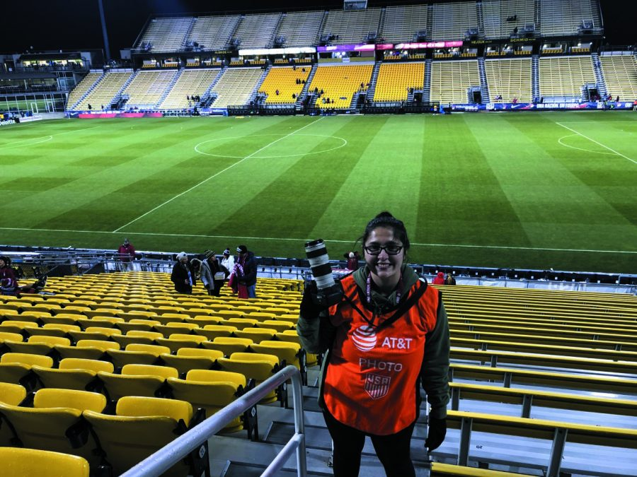 Graduate student Rachael McKriger has been a member of The Globe since  rst coming to Point Park. McKriger is pictured above taking photos for the U.S. Women's National soccer team in Columbus, Ohio.
