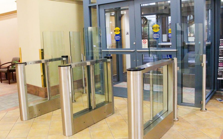 Turnstiles+were+installed+at+the+Lawrence+Hall+entrances+over+Thanksgiving+break.