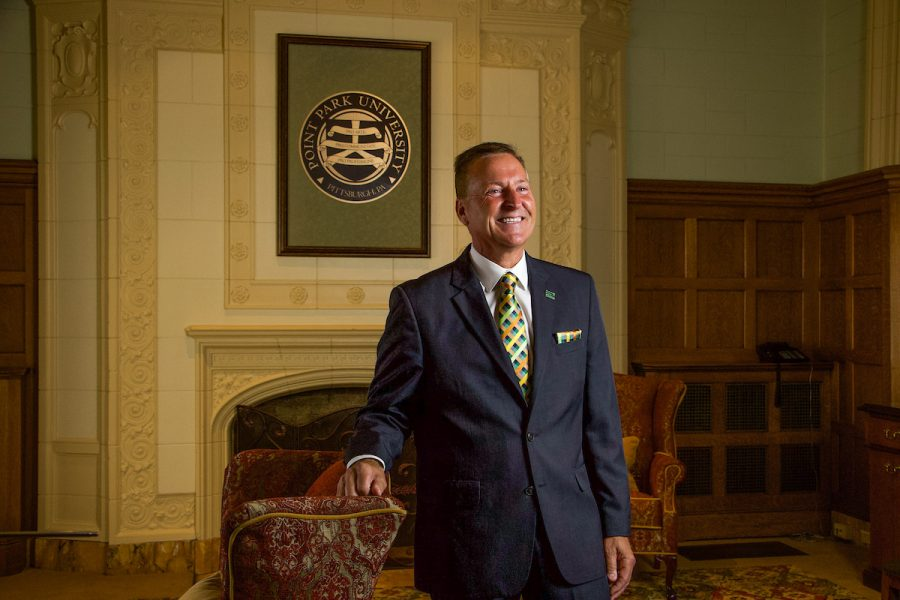 New Point Park President Don Green at Point Park University in Pittsburgh Pennsylvania. (Photo by Megan Gloeckler)